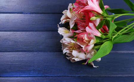 alstroemeria: Beautiful alstroemeria on wooden background