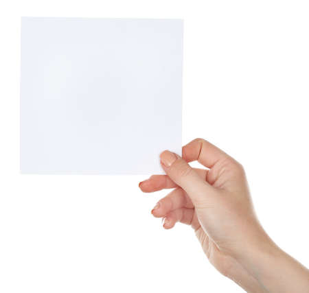 Hand holding blank card isolated on white Foto de archivo