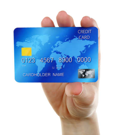 cash slips: Hand holding credit card, isolated on white Stock Photo