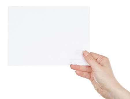 Hand holding blank card isolated on white Imagens - 50307513