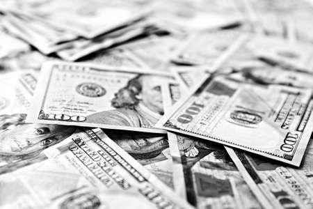 apilar: Muchos cientos de dólares en efectivo el dinero como fondo Foto de archivo