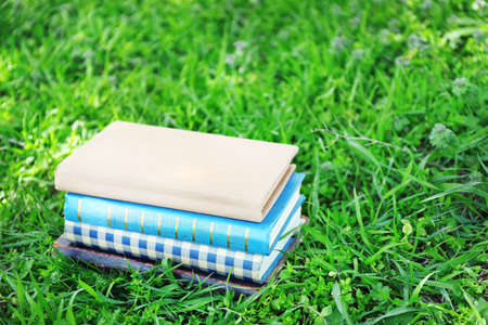 stacked books: Stacked books in grass, outside