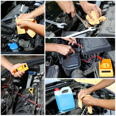 car service: Repairing car in details, collage