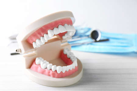 test probe: White teeth and dental instruments on table background