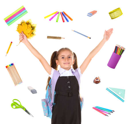 schooler: Cute schoolgirl with supplies, isolated on white Stock Photo
