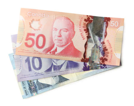 Dollars canadiens, isolé sur blanc Banque d'images