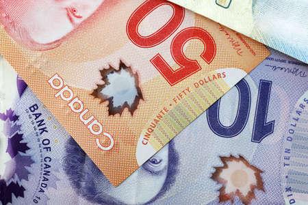 dollars canadiens, gros plan