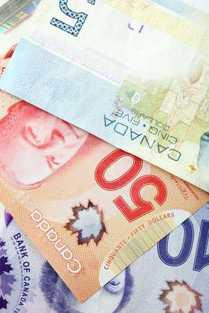fondos violeta: Canadian dollars, close up