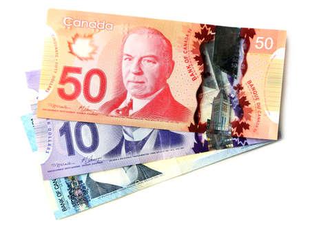 Kanadischen Dollar, isoliert auf weiß Standard-Bild