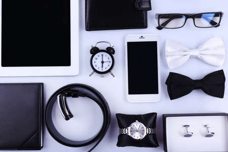 objects: Essentials fashion man objects on light background