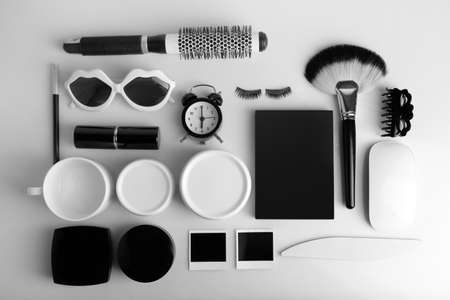 objects: Essentials fashion woman objects on light background
