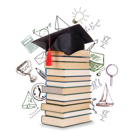 alumna: Pile of books with grad hat and vector images, isolated on white
