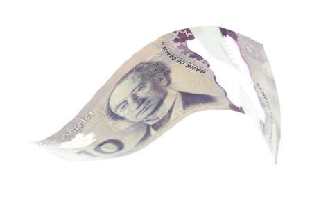 fondos violeta: 10 D�lar canadiense, aislado en blanco Foto de archivo