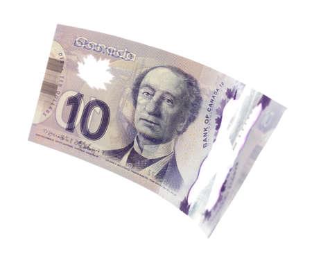 10 Dollar canadien, isolé sur blanc