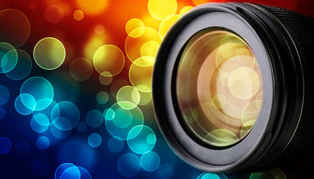 telephoto: Lens of camera on abstract night background, close up
