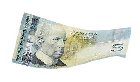 5 Dollar canadien, isolé sur blanc Banque d'images