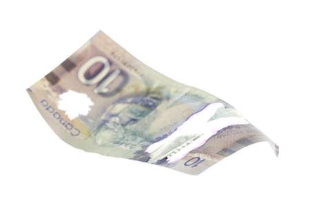 fondos violeta: Canadian 10 Dollar, isolated on white Foto de archivo
