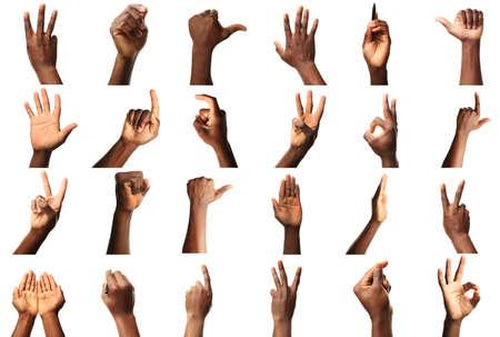 Set van mannelijke handen gebaren, geïsoleerd op wit
