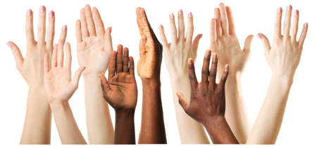 arms lifted up: Set of raised hands, isolated on white Stock Photo