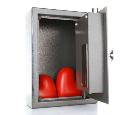 stainless steal: Decorative hearts in safe isolated on white