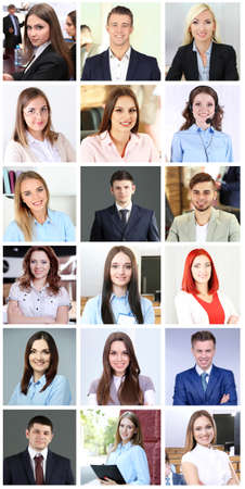 Collage of business people portraits Stock Photo