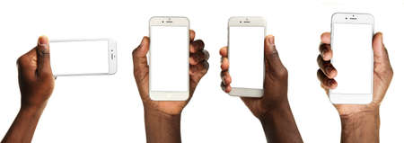 african american man: Set of man hands holding smart phone in different ways, isolated on white Stock Photo