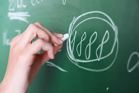 syntactic: Female hand writing sentences on blackboard with chalk close up
