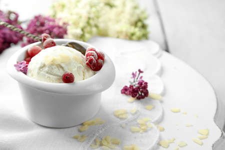 glower: Beautiful composition with tasty ice cream and lilac flowers
