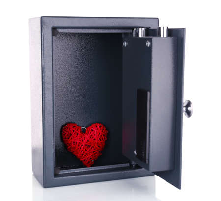 stainless steal: Decorative heart in safe isolated on white