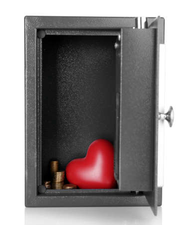 stainless steal: Decorative heart with money in safe isolated on white Stock Photo