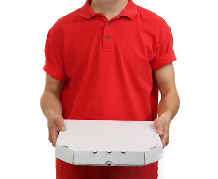 delivery boy: Delivery boy with cardboard pizza box isolated on white