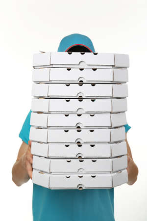 delivery man: Delivery boy with cardboard pizza box isolated on white
