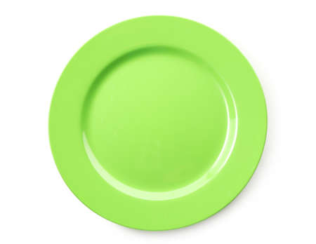 breakfast plate: Empty colorful plate isolated on white