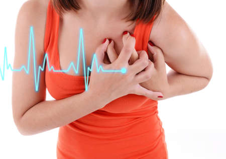 pain: Woman having chest pain - heart attack. Stock Photo