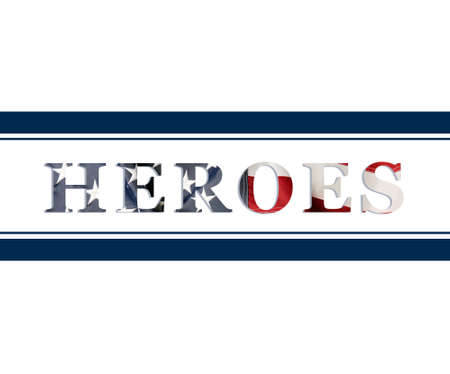 Word Heroes in American flag colors blue lines as frame isolated on white