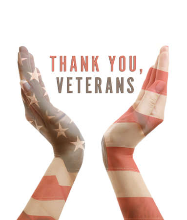 Text Thank You, Veterans in hands, USA National holiday concept
