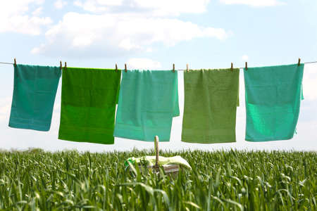 Laundry line with towels in spring field
