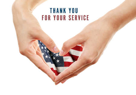 national holiday: Text Thank You For Your Service and USA flag in hands, USA National holiday concept Stock Photo
