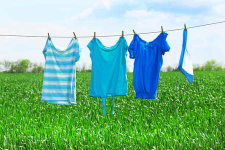 laundry line: Laundry line with clothes in spring field