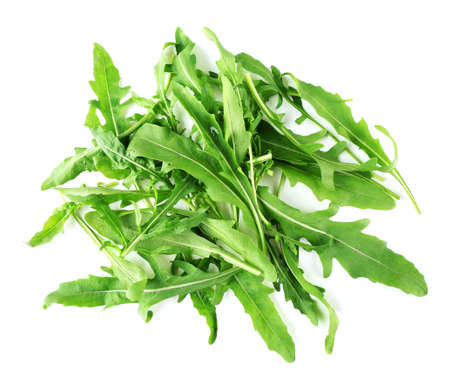 rukola: Green arugula leaves isolated on white