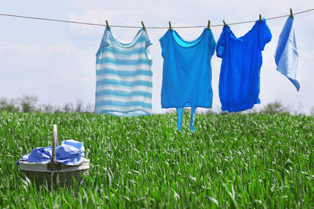 linea di lavanderia con abiti in campo di primavera Archivio Fotografico