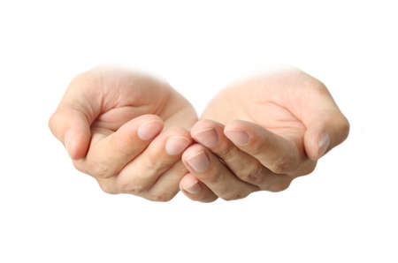 Leere männliche Hände, isoliert auf weiß