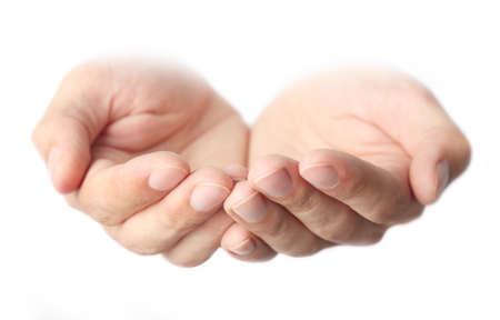 Prázdné mužské ruce, izolovaných na bílém