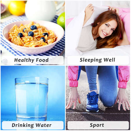 healthy sport: Collage of healthy lifestyle Stock Photo