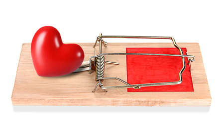 holdfast: Mousetrap with red heart isolated on white