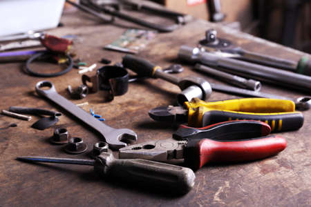 garage: Different tools on workplace in garage