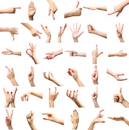 Set van vrouwelijke handen gebaren, geïsoleerd op wit Stockfoto