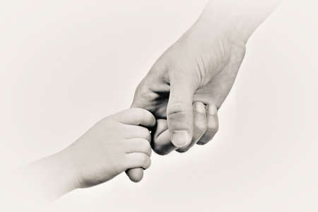 stylization: Child and mother hands, black and white retro stylization