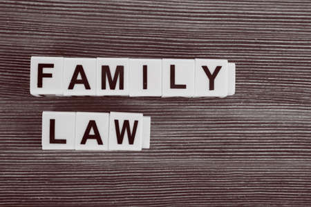 obligation: Blocks with letters regarding child-custody and family-law concept. Retro stylization