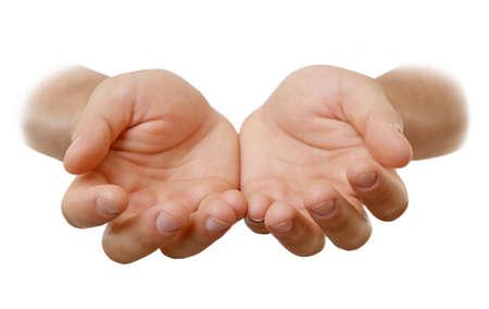 dando la mano: manos de los hombres vacíos, aislados en blanco